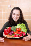 Young Woman Eating Vegetable Salad Stock Images