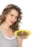 Young Woman Eating a Whole Grain Mixed Bean Salad Stock Photos