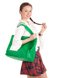 Young woman with ecological shopping bag Royalty Free Stock Photo