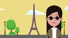 Travel to europe HD animation. Young woman and eiffel tower in paris High definition colorful animation scenes stock footage