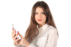 Young woman and electronic device Stock Photography
