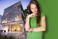 Young woman by elegant building Stock Images