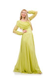 The young woman in elegant long green dress isolated on white Royalty Free Stock Photos