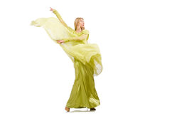 Young woman in elegant long green dress isolated on white Royalty Free Stock Photo