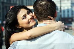 The young woman embraces the guy Stock Image