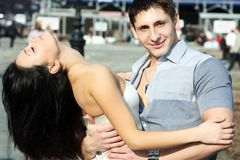 The young woman embraces the guy Royalty Free Stock Images
