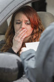 Young woman is emotional after being pulled over by police Stock Photo