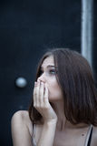 Young woman emotional portrait fear concept Stock Photos