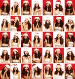 Young woman, emotions, face, collage, close up, red and white background royalty free stock photography