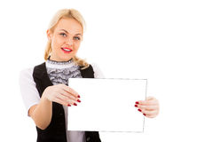 Young woman and empty board Royalty Free Stock Photos