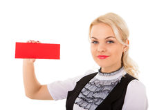 Young woman and empty board Royalty Free Stock Photography