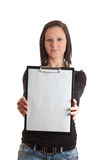 Young woman empty clipboard front Stock Image