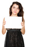Young woman and empty white blank Royalty Free Stock Photos