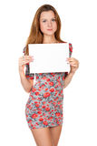 Young woman and empty white blank Stock Images