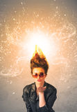 Young woman with energetic exploding red hair. Concept on background Royalty Free Stock Photos