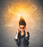Young woman with energetic exploding red hair Stock Photography