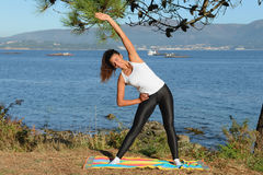 Young woman is engaged in fitness outdoors Royalty Free Stock Images