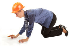 Young woman engineer with the blueprints in hand Stock Image