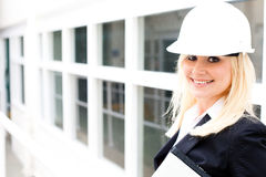 Young woman engineer at the job site Stock Photo