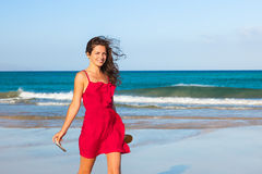 Young woman enjoing the beach Royalty Free Stock Image