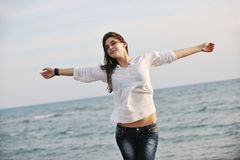 Young woman enjoy on beach Royalty Free Stock Image