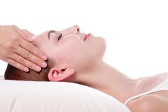 Young woman enjoy face massage Royalty Free Stock Images