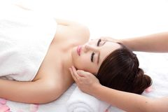 Young woman enjoy massage at spa Stock Images
