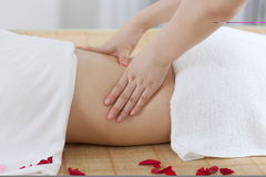 A young woman enjoy massage at spa Royalty Free Stock Photo