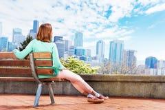 Young woman enjoy Seattle downtown view Stock Photos