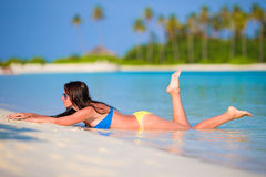 Young woman enjoy tropical beach vacation Royalty Free Stock Images