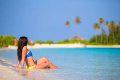 Young woman enjoy tropical beach vacation Royalty Free Stock Image