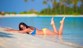 Young woman enjoy tropical beach vacation Stock Photo