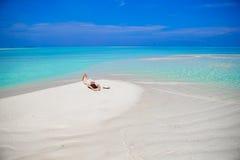 Young woman enjoy tropical beach vacation Stock Photos