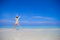 Young woman enjoy tropical beach vacation Royalty Free Stock Photos