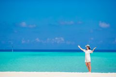 Young woman enjoy tropical beach vacation Stock Image