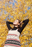 Young woman enjoyed sunny autumn day Royalty Free Stock Photo