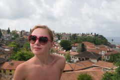 Young woman enjoying Antalya panorama Royalty Free Stock Photo
