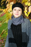 Young woman enjoying autumn Stock Photography