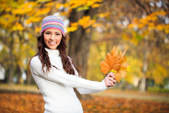 Young woman enjoying in autumn Royalty Free Stock Photo