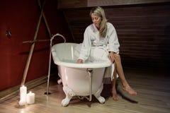 Young woman enjoying bath Royalty Free Stock Image