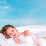 Young woman enjoying bath in the resort Stock Images