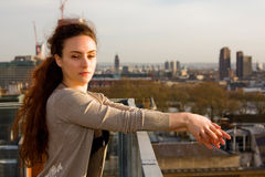 Young woman enjoying the city view Royalty Free Stock Photography