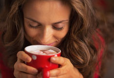 Young woman enjoying cup of hot chocolate with marshmallow Royalty Free Stock Photography