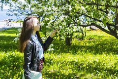 Young woman enjoying the fragrance of apple-tree Stock Image