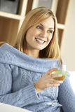 Young Woman Enjoying Glass Of Wine Royalty Free Stock Photos