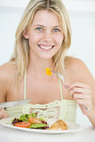 Young Woman Enjoying Healthy Meal Stock Photos