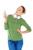 Young woman enjoying her music Stock Photography