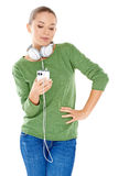 Young woman enjoying her music Royalty Free Stock Photography