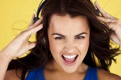Young woman enjoying music. Stock Photo