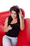 Young woman enjoying music. stock photos